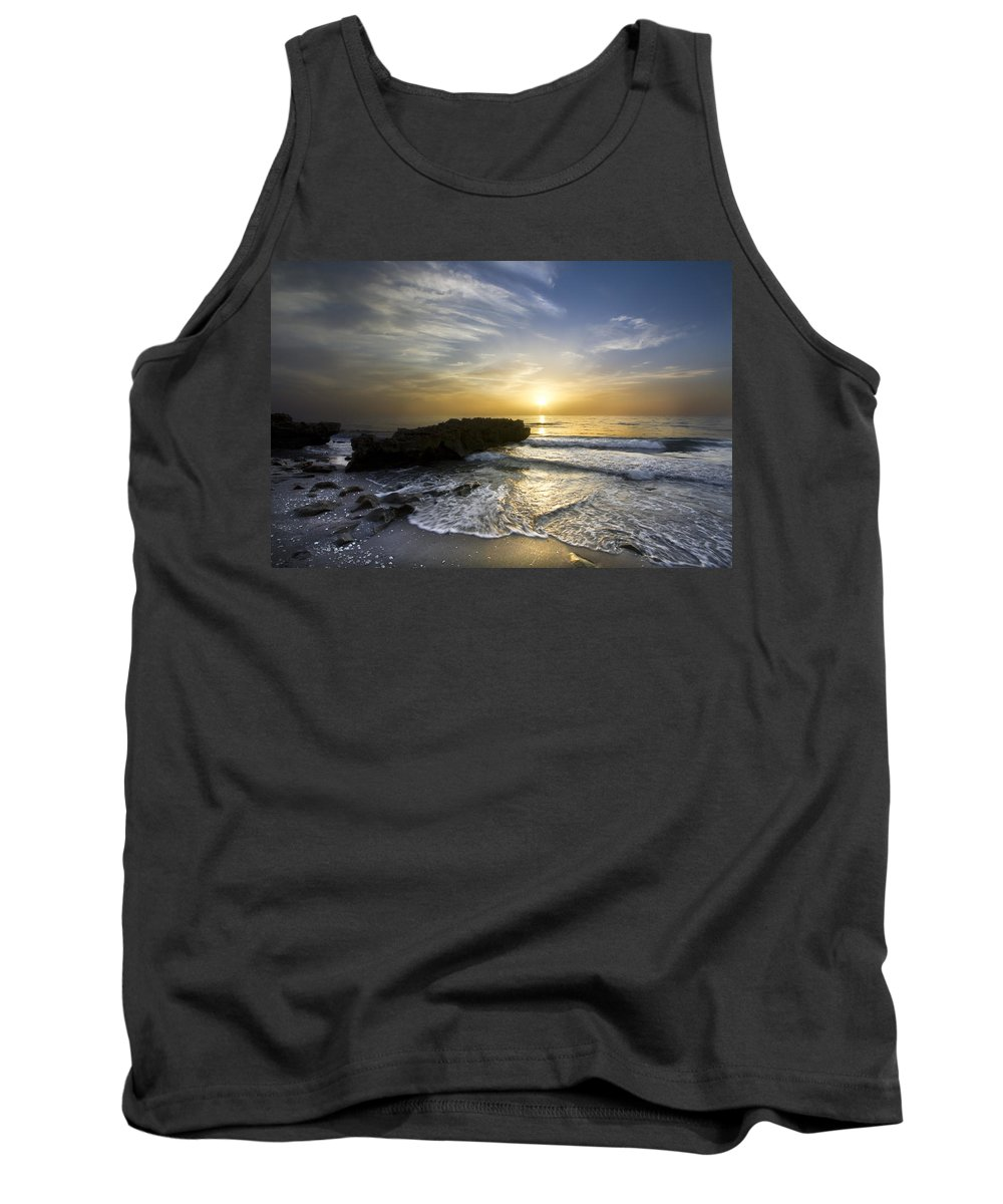 Clouds Tank Top featuring the photograph Coral Shoreline by Debra and Dave Vanderlaan
