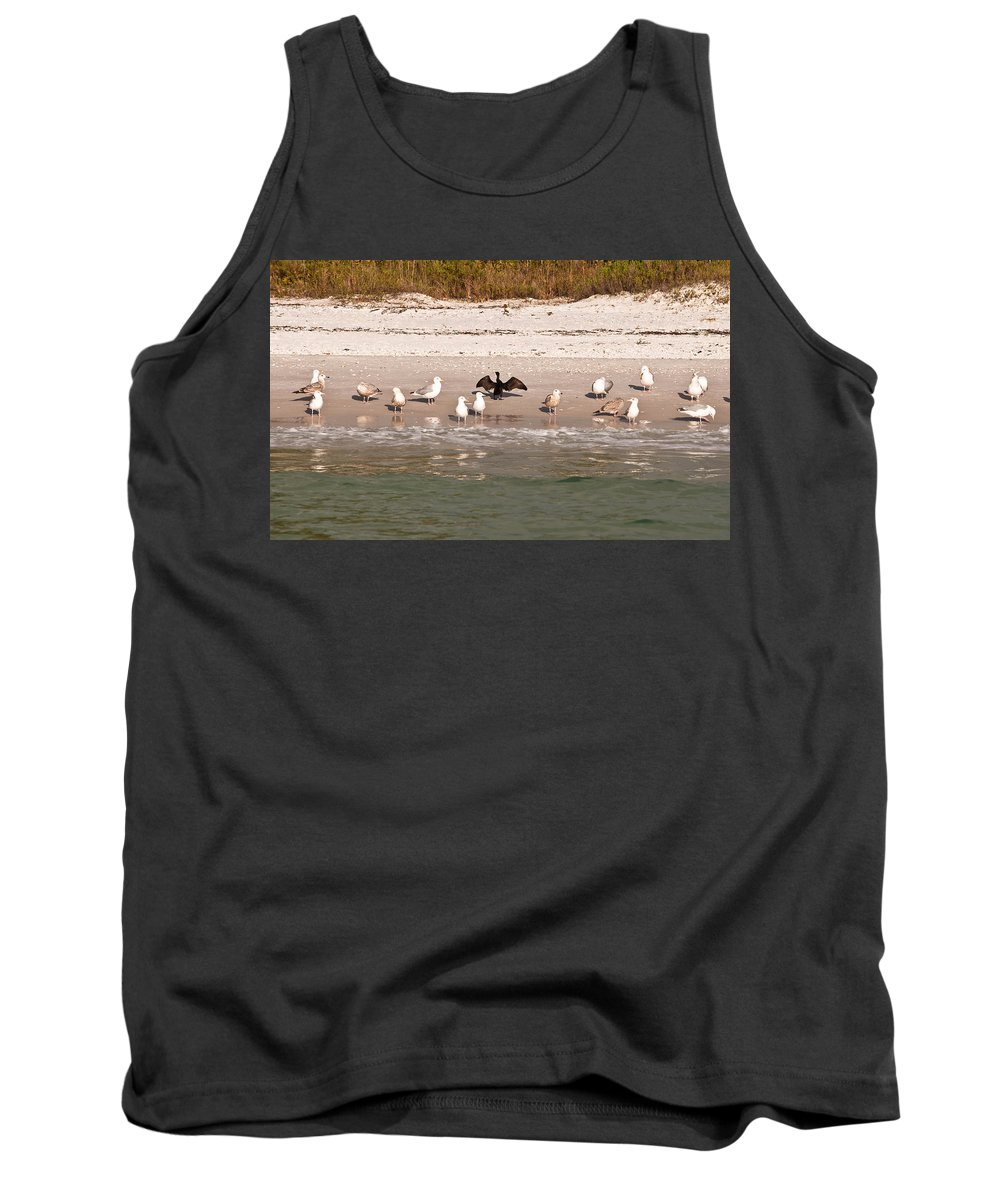 Cormarant Tank Top featuring the photograph Cormorant Stands Out by Christine Stonebridge