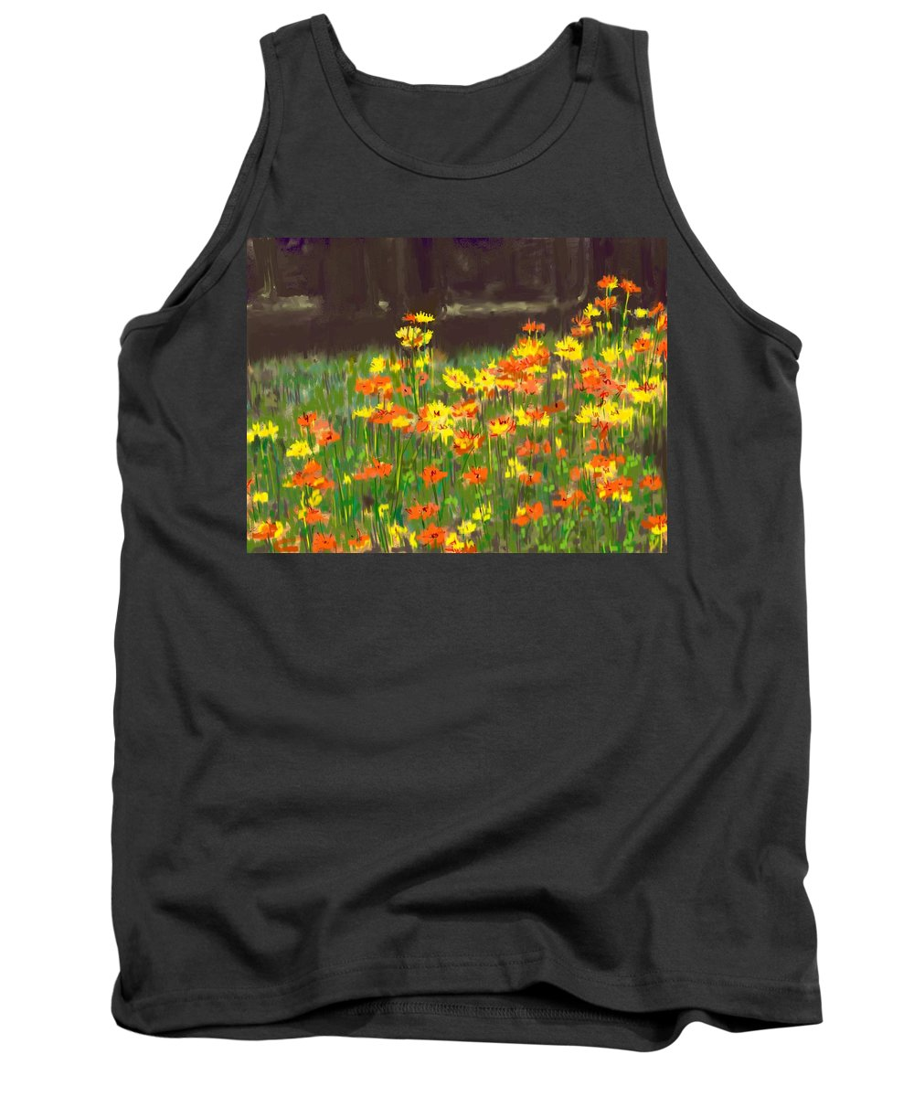 Digital Tank Top featuring the painting Cosmos Flowers by Usha Shantharam