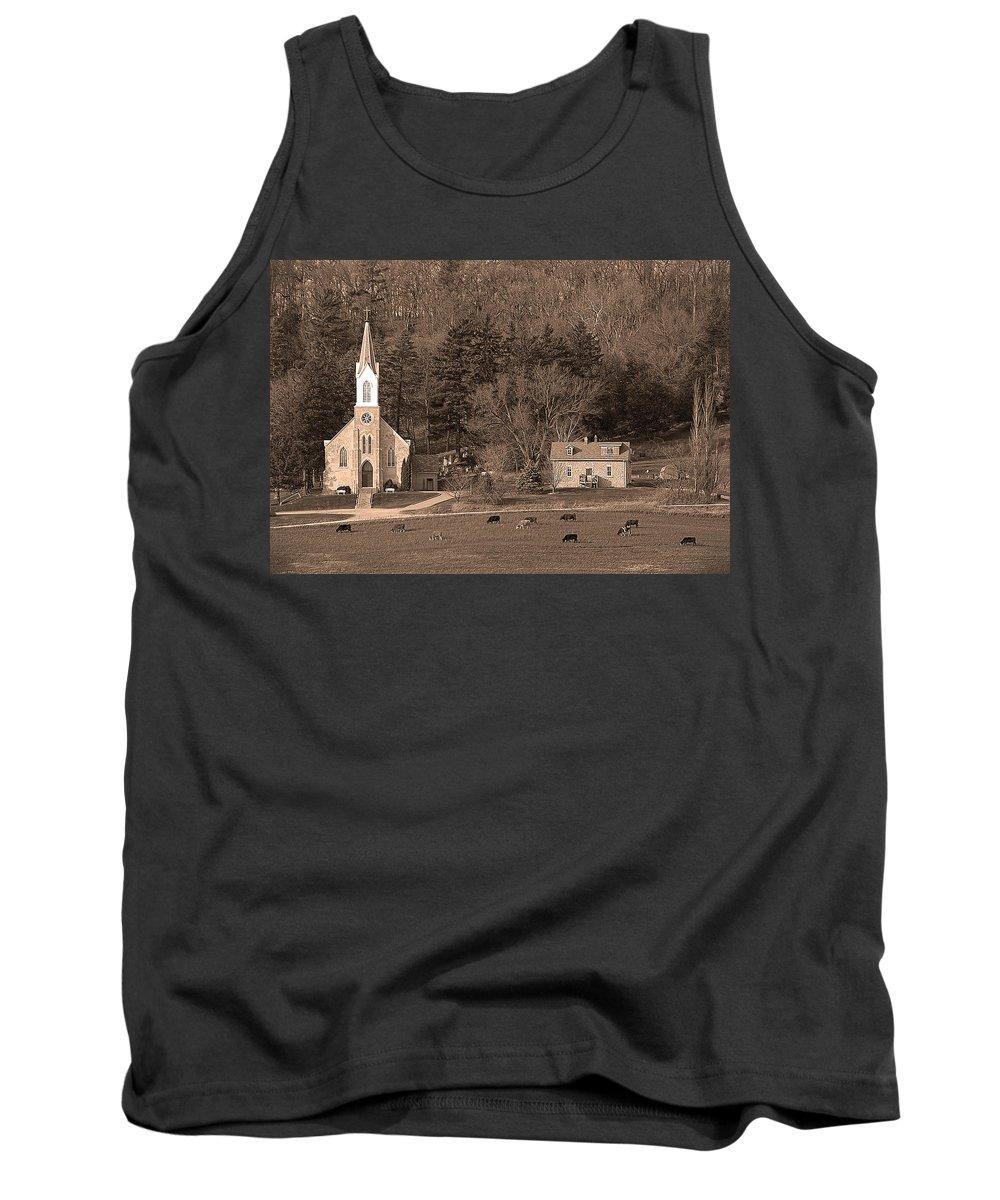 Upper Iowa Tank Top featuring the photograph Country Church by Randall Branham