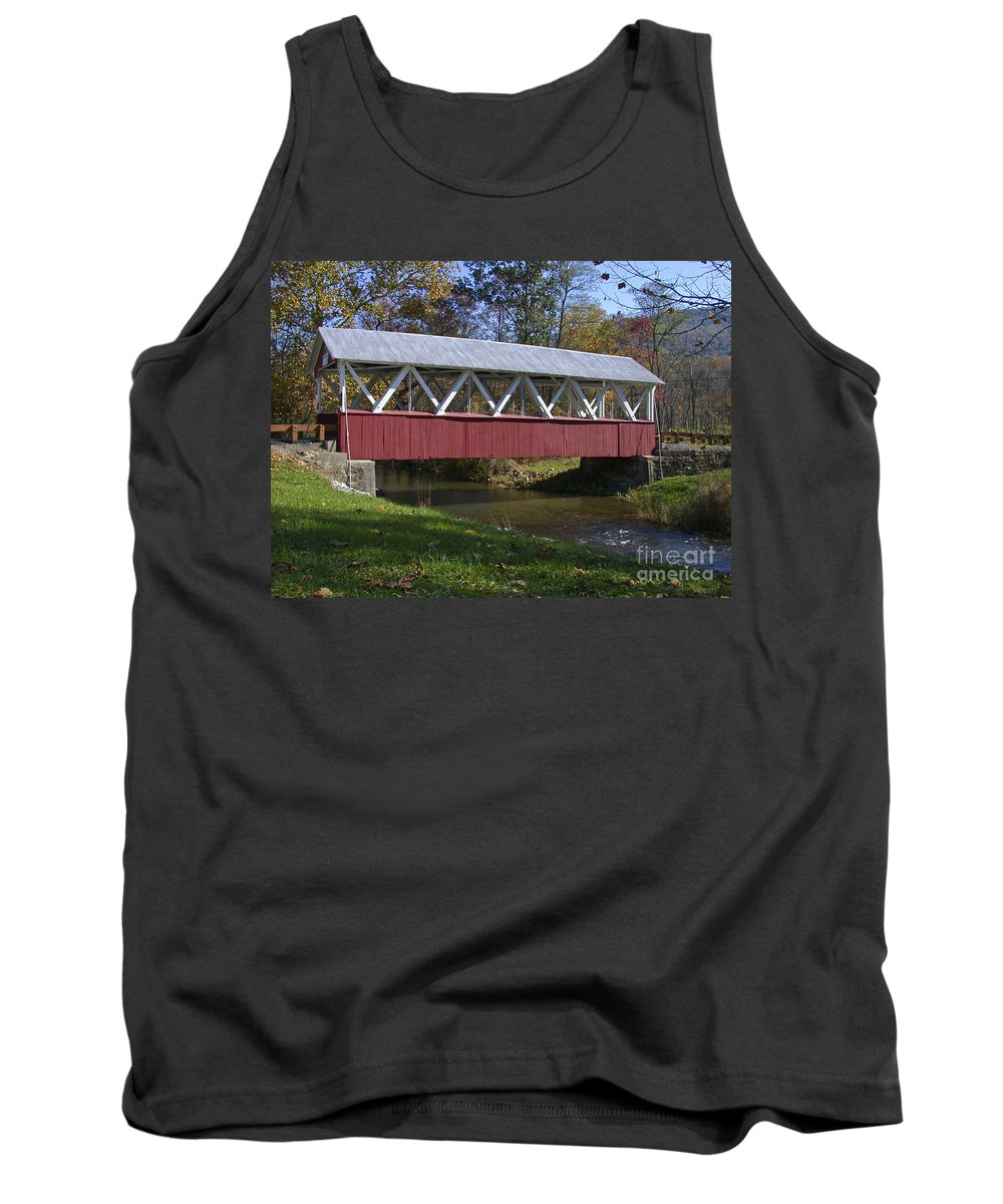 Covered Bridge Tank Top featuring the photograph Covered Bridge In Fall by Tim Mulina