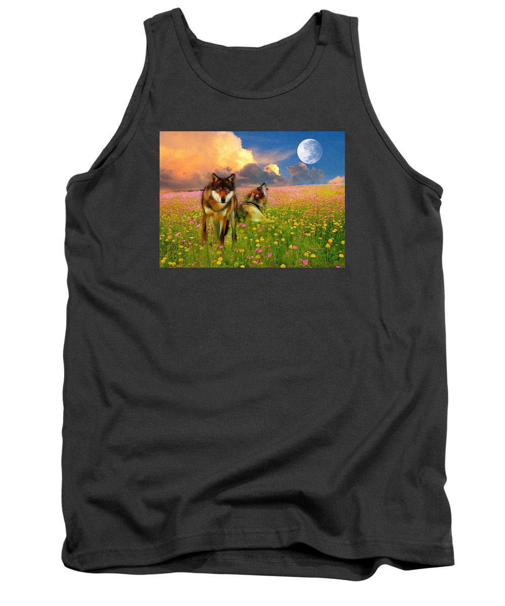 Nature Tank Top featuring the digital art Cry At The Moon by Georgiana Romanovna