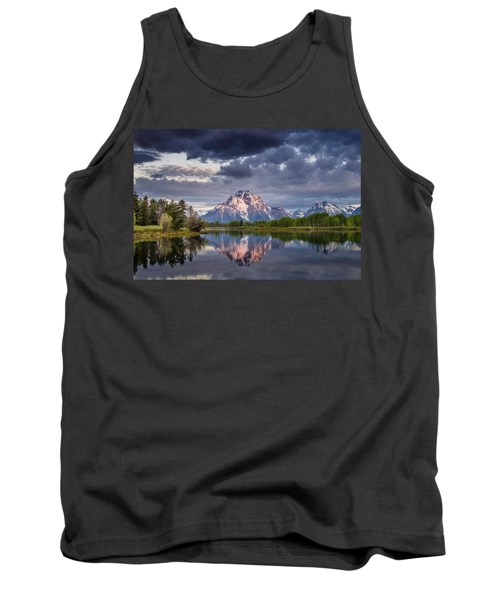 Grand Tetons National Park Tank Top featuring the photograph Darkening Skies Over Oxbow Bend by Greg Nyquist
