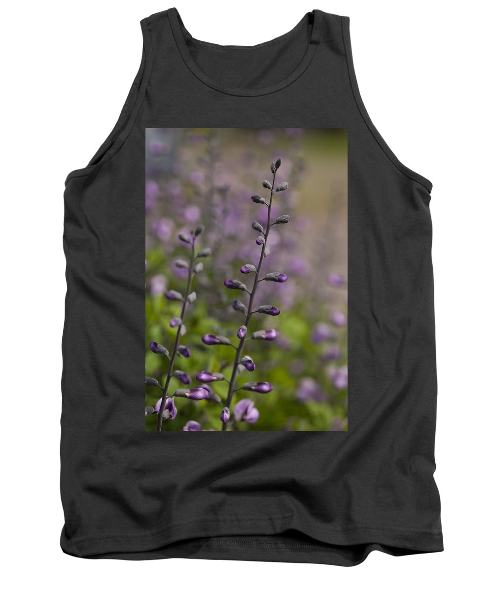 Flower Tank Top featuring the photograph Delphinium Haze by Mike Reid