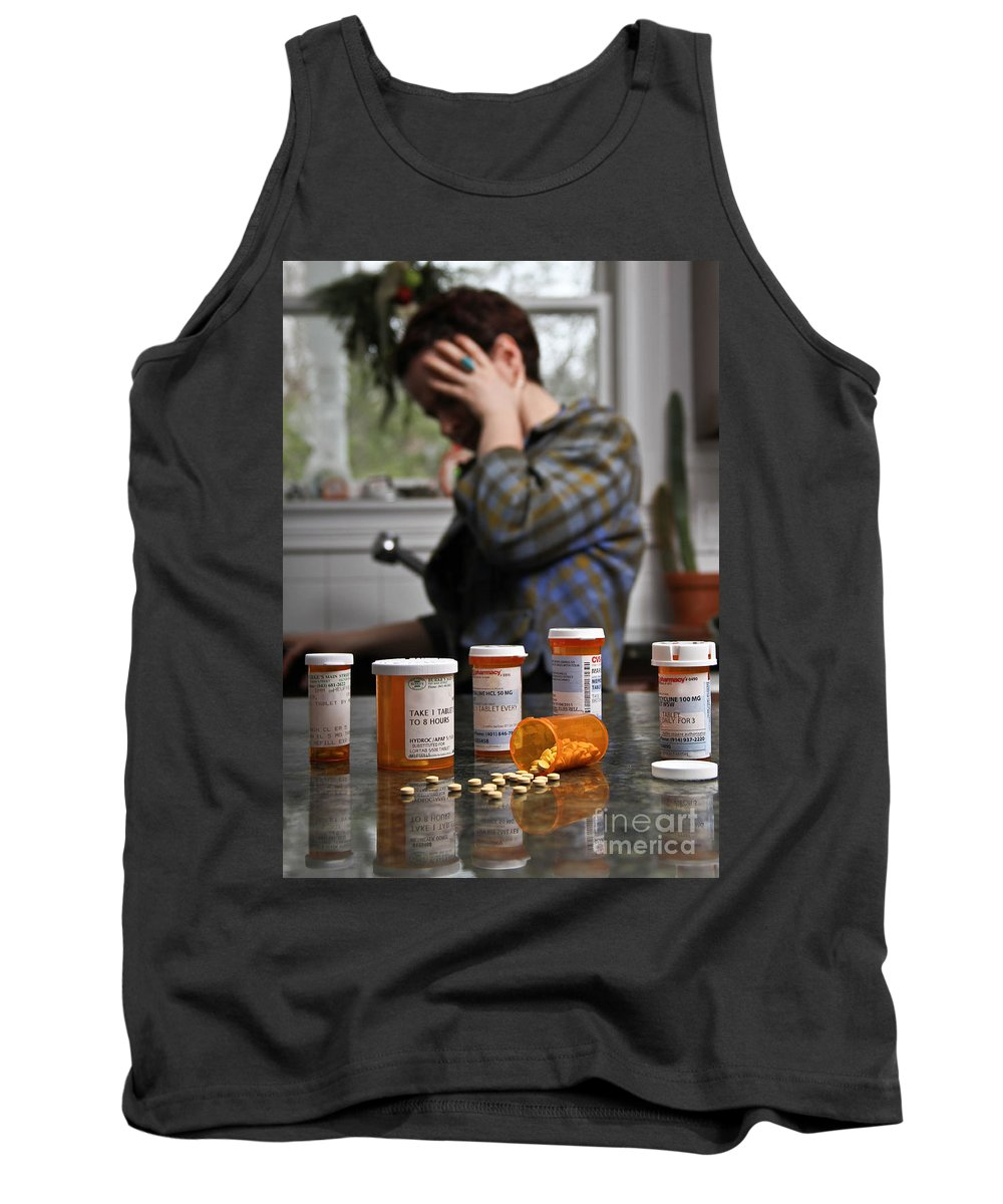 Person Tank Top featuring the photograph Depression And Addiction by Photo Researchers, Inc.