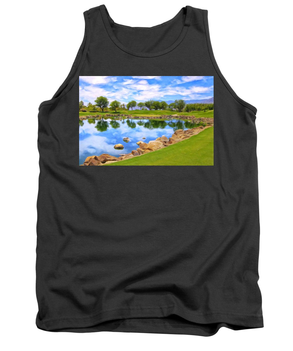 Desert Golf Tank Top featuring the painting Desert Golf by Dominic Piperata