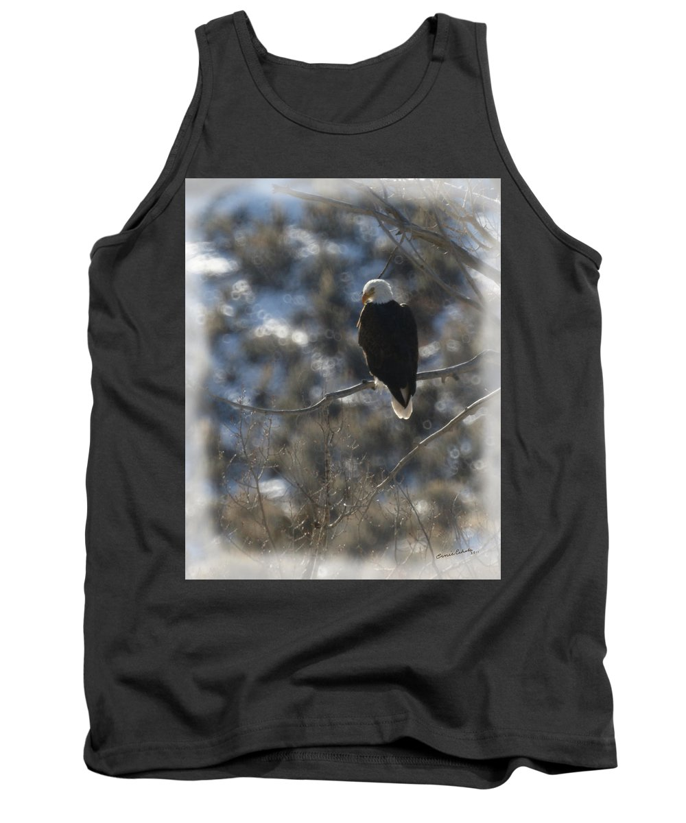 Animal Tank Top featuring the photograph Eagle In Tree 2 by Ernie Echols