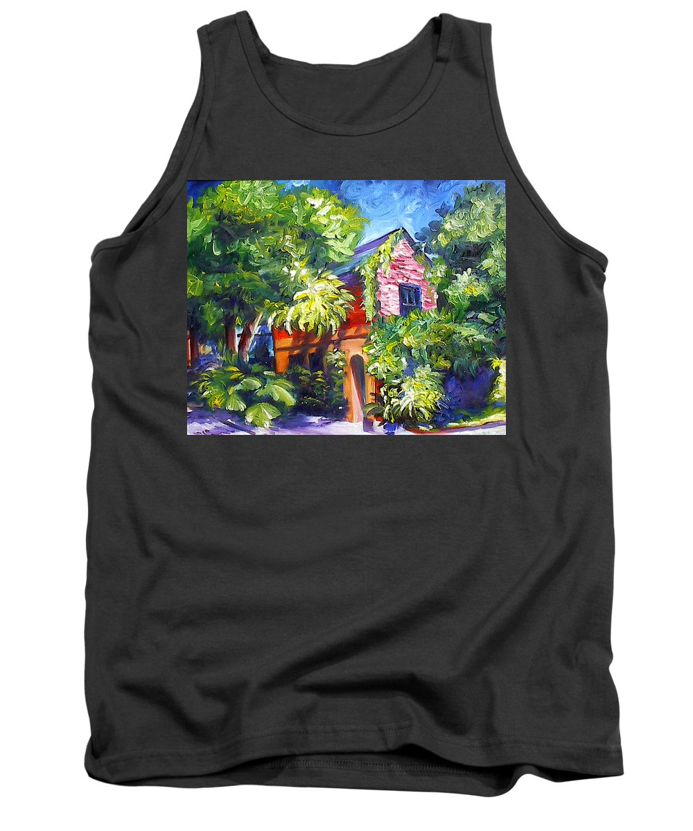 Sky; Impressionist; House; Charleston; Tree; Flowers; Blue; Red; Green; Yellow; Contemporary; Street; Road; Vintage; Old; Southern; Antebellum; James Christopher Hill; Jameshillgallery.com; Ocean; Lakes; Creation; Genesis Tank Top featuring the painting East Bay House in Charleston by James Christopher Hill
