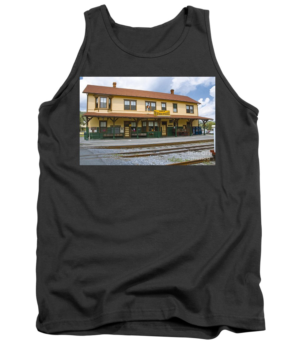 East Broad Top Tank Top featuring the photograph East Broad Top Station 2 by Tim Mulina