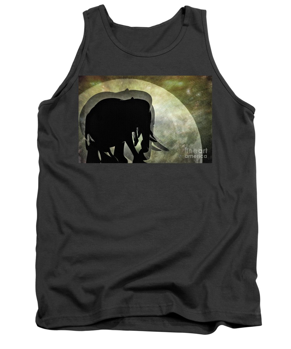 Photography Tank Top featuring the photograph Elephants On Moonlight Walk 2 by Kaye Menner
