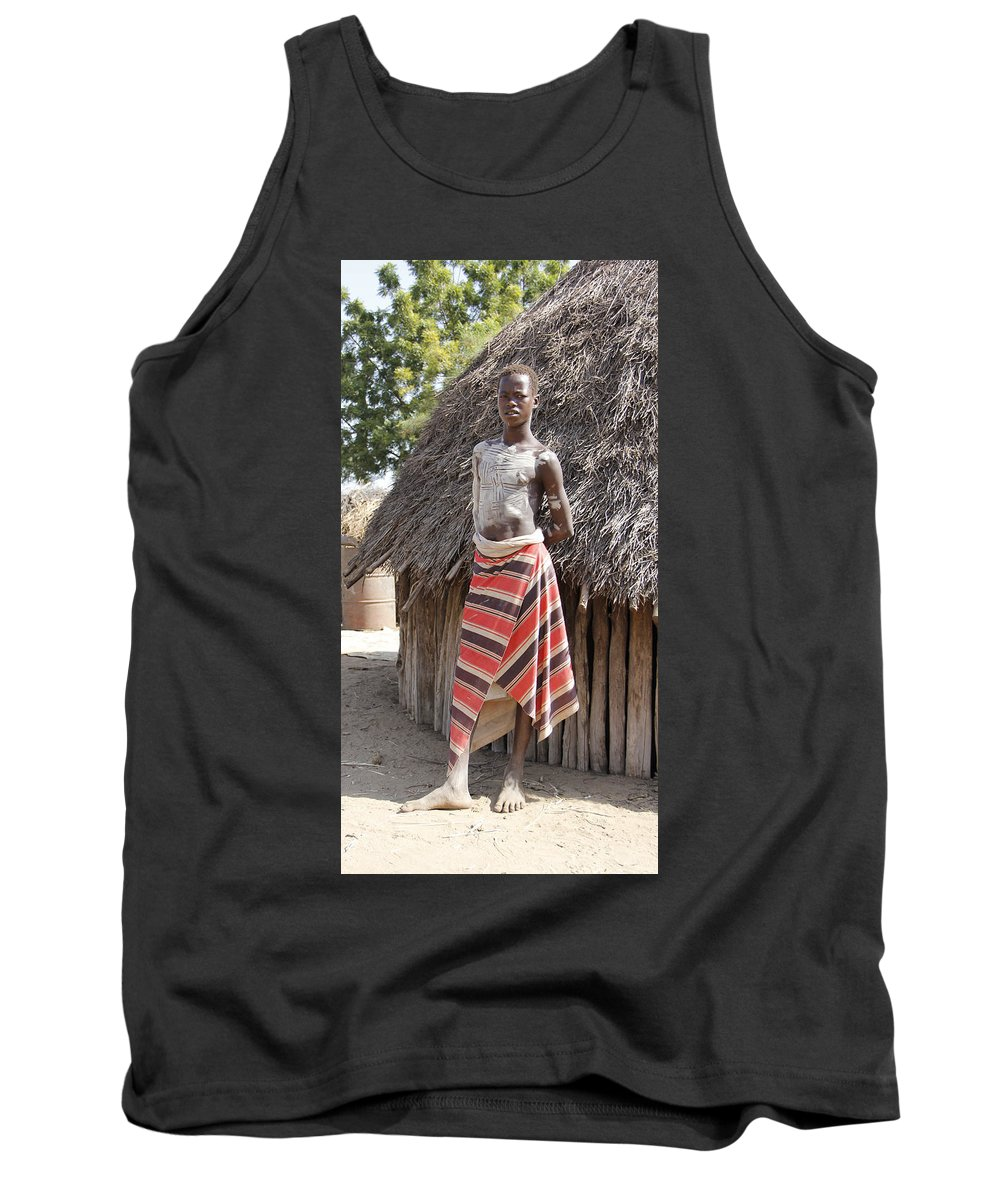 Africa Tank Top featuring the painting Ethiopia-south Tribesman Teenager No.1 by Robert SORENSEN