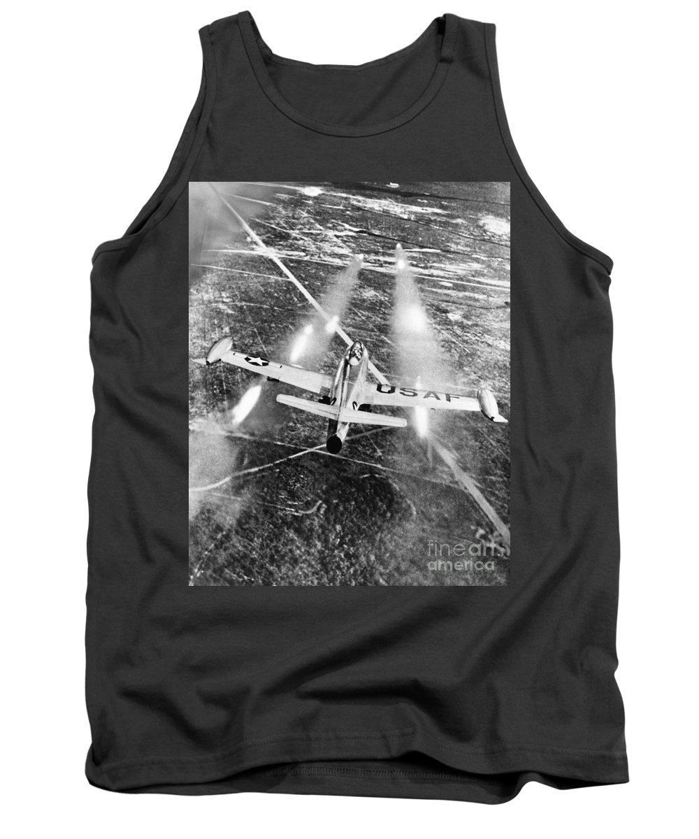 1949 Tank Top featuring the photograph F-84 Thunderjet, 1949 by Granger