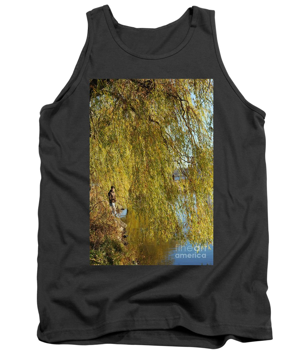 Fall Tank Top featuring the photograph Fall Fisherman by Elaine Mikkelstrup