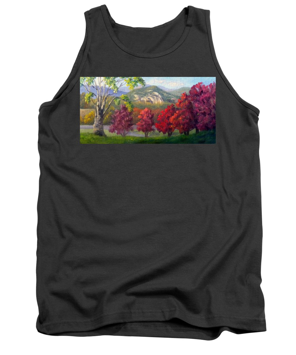 Landscape Tank Top featuring the painting Fall View from the Red Jacket Inn by Sharon E Allen