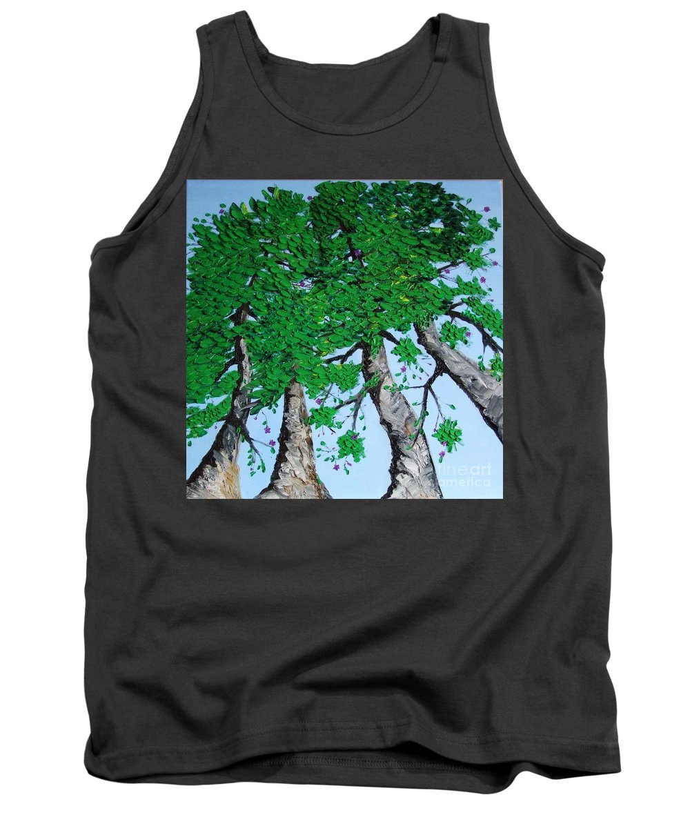Landscape Tank Top featuring the painting Family Trees by Alfie Borg