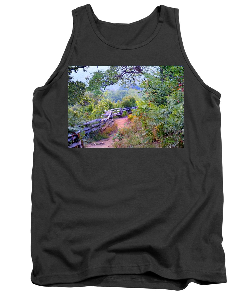 Old Fences Tank Top featuring the photograph Fence To The Blueberries Filtered by Duane McCullough
