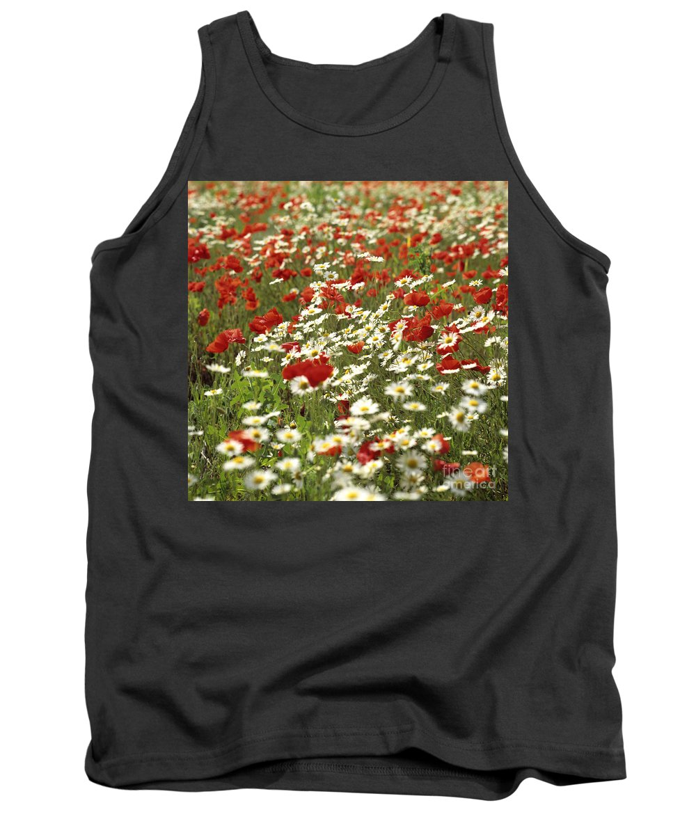 Variety Tank Top featuring the photograph Field Of Poppies And Daisies In Limagne Auvergne. France by Bernard Jaubert