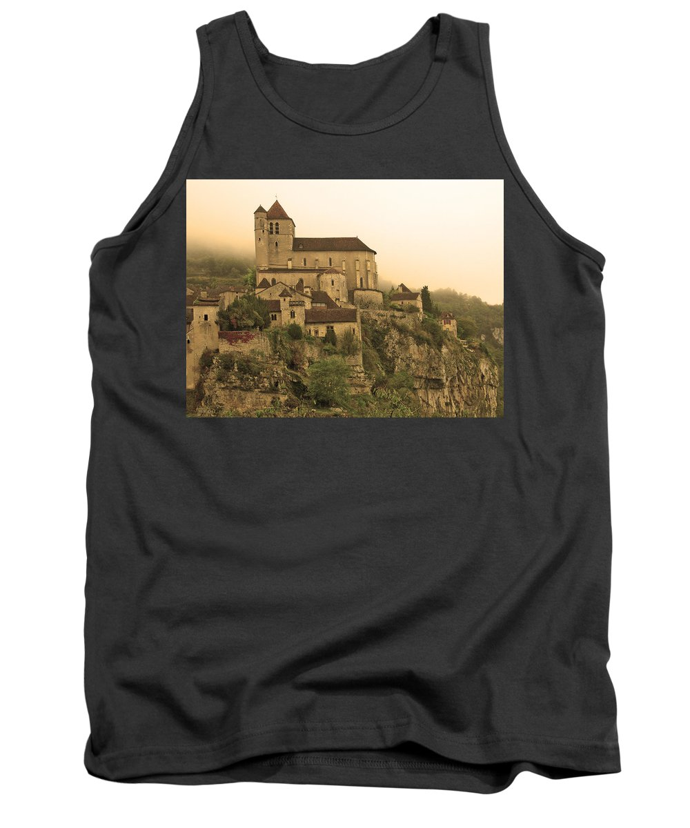 St Cirq Tank Top featuring the photograph Fog Descending On St Cirq Lapopie In Sepia by Greg Matchick