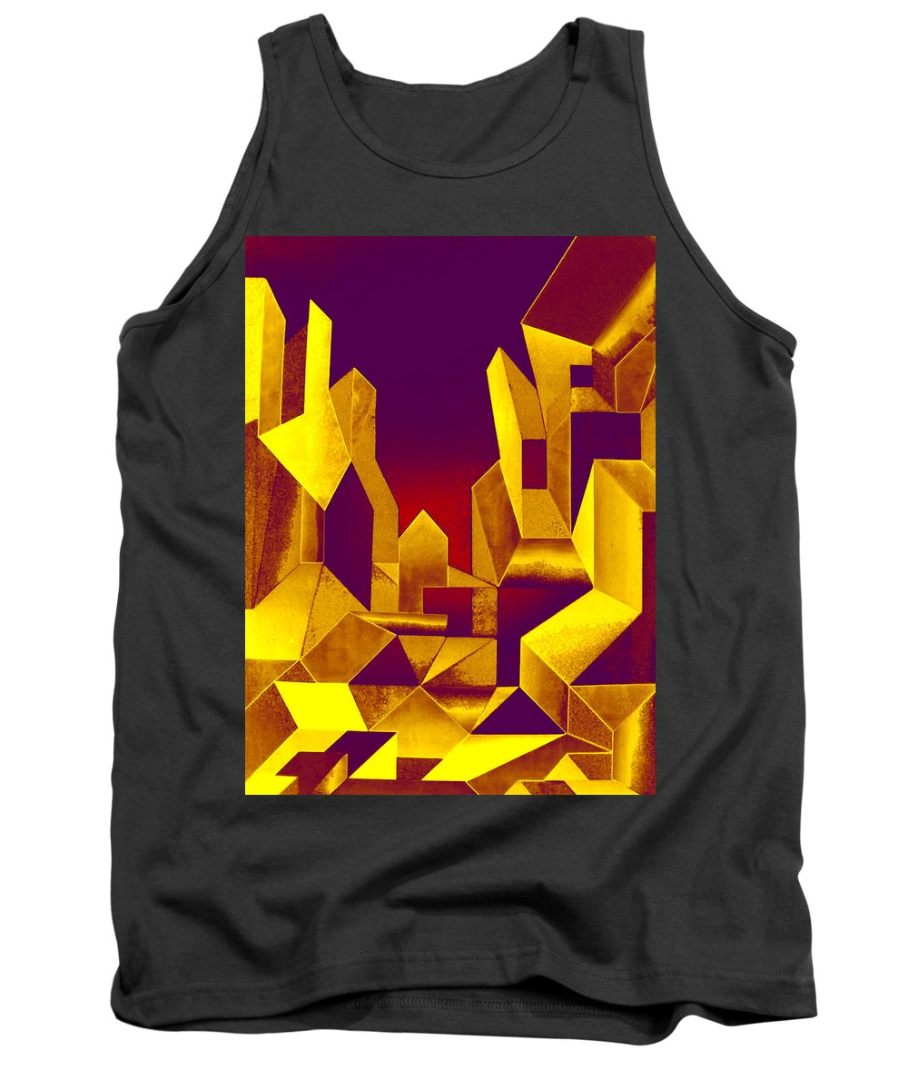 Australian Tank Top featuring the painting Gilded City by Giro Tavitian