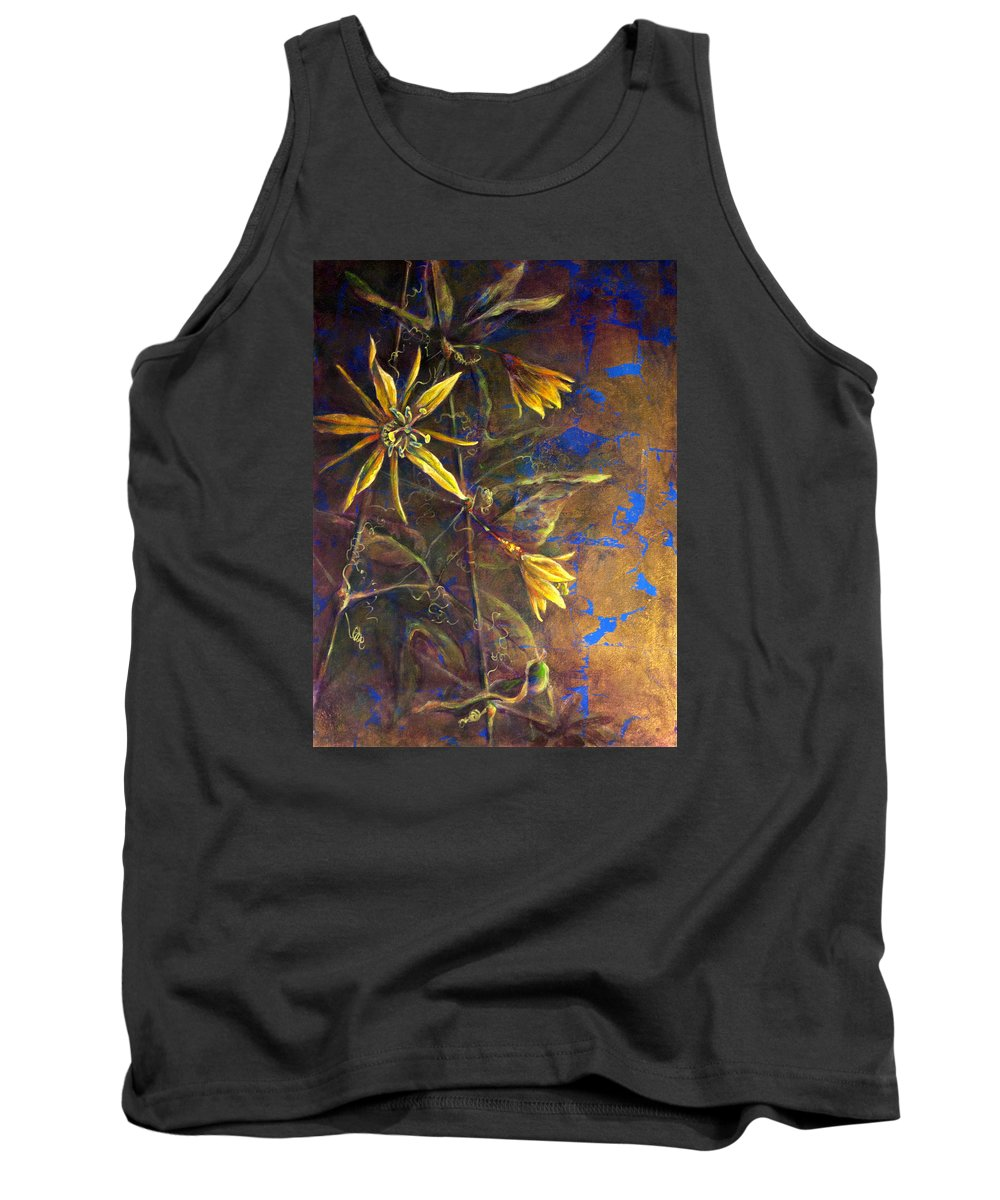 Floral Tank Top featuring the painting Gold Passions by Ashley Kujan