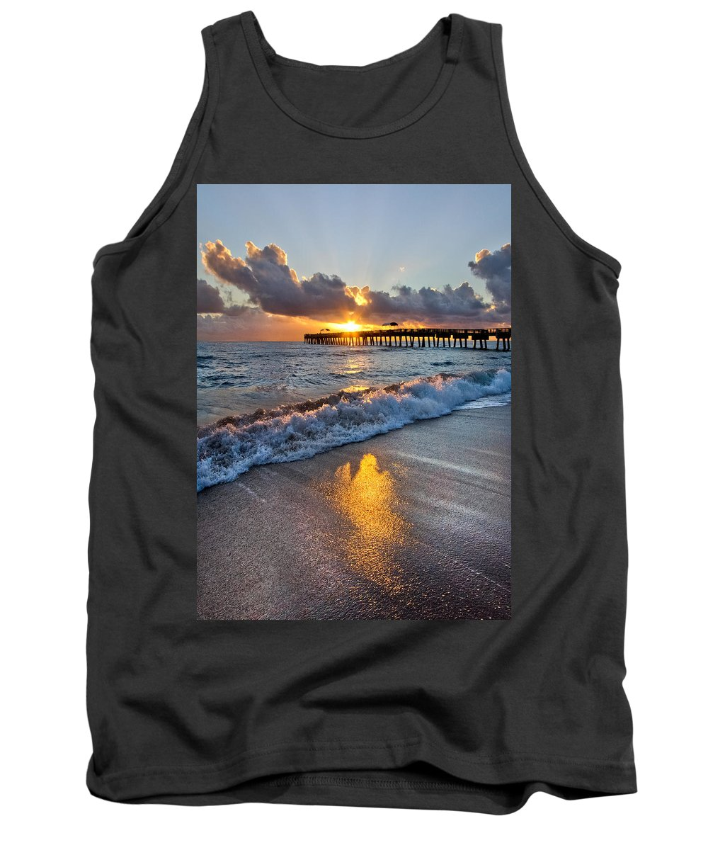 Clouds Tank Top featuring the photograph Golden Shadows by Debra and Dave Vanderlaan