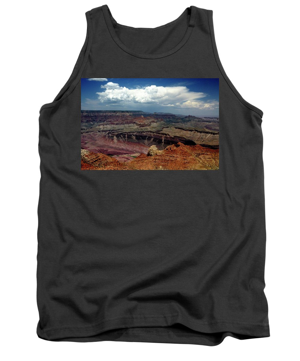 Grand Canyon View Sky Tank Top featuring the photograph Grand Canyon View - Greeting Card by Mark Valentine