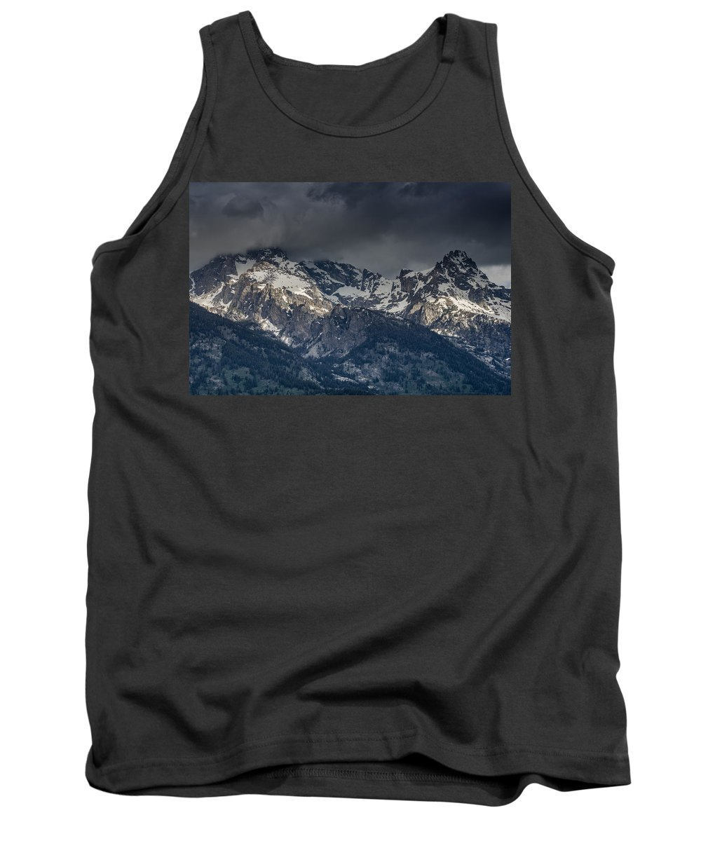 Grand Tetons National Park Tank Top featuring the photograph Grand Tetons Immersed In Clouds by Greg Nyquist