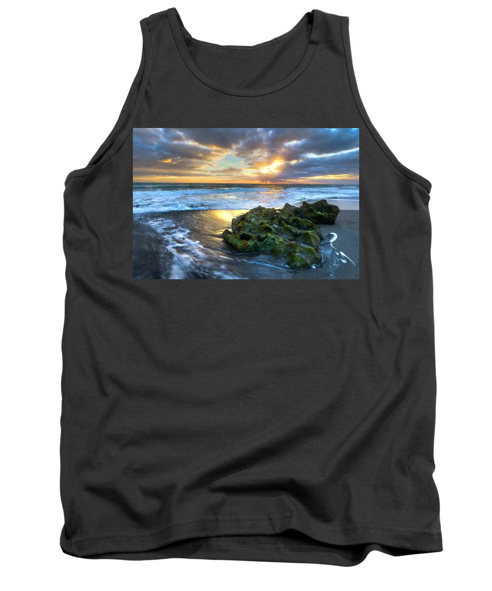 Blowing Rocks Tank Top featuring the photograph Green And Gold by Debra and Dave Vanderlaan