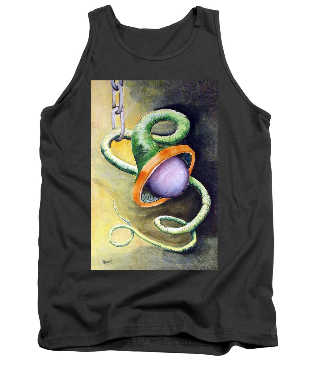 Worm Tank Top featuring the painting Green Ball Worm by Sam Sidders