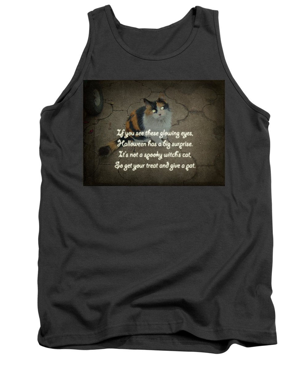 Halloween Tank Top featuring the photograph Halloween Calico Cat And Poem Greeting Card by Mother Nature