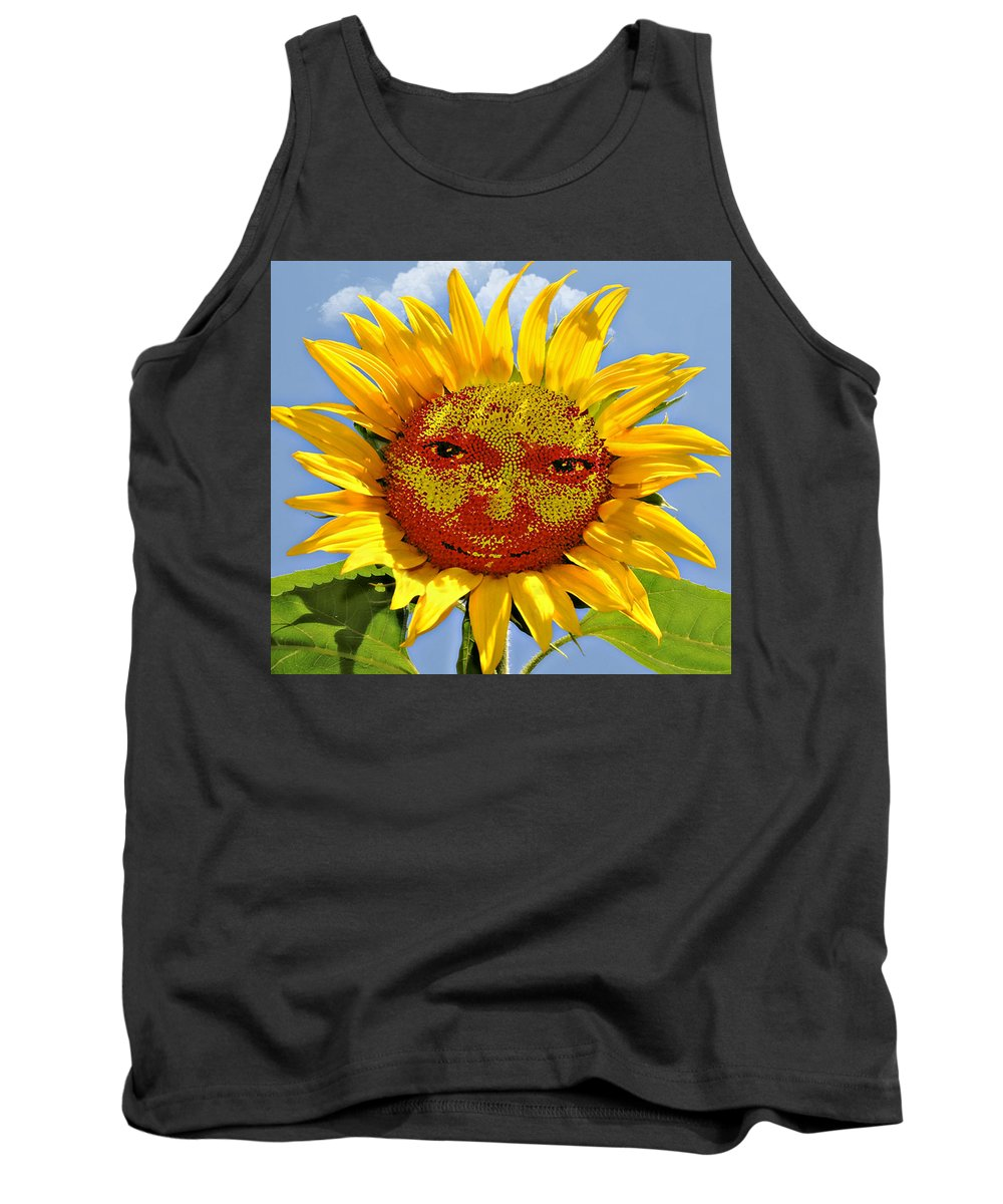Funny Tank Top featuring the photograph Happy Sunflower by Susan Leggett