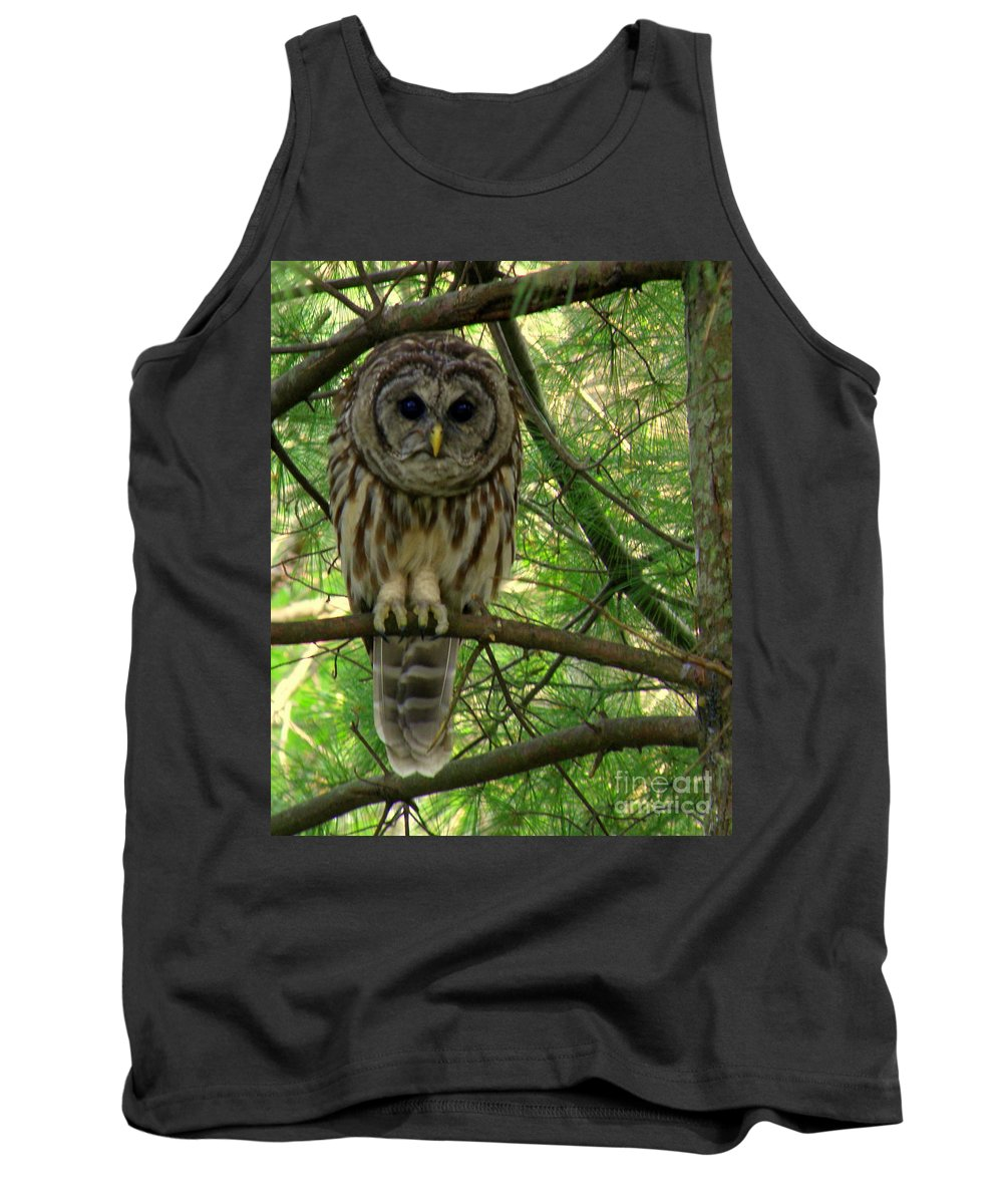 Owl Tank Top featuring the photograph Hoot Hoo Dee Hoo by Lainie Wrightson