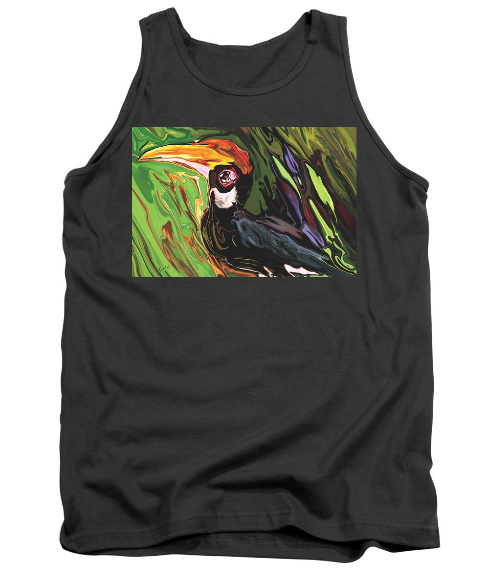 Animal Tank Top featuring the painting Hornbill by Rabi Khan