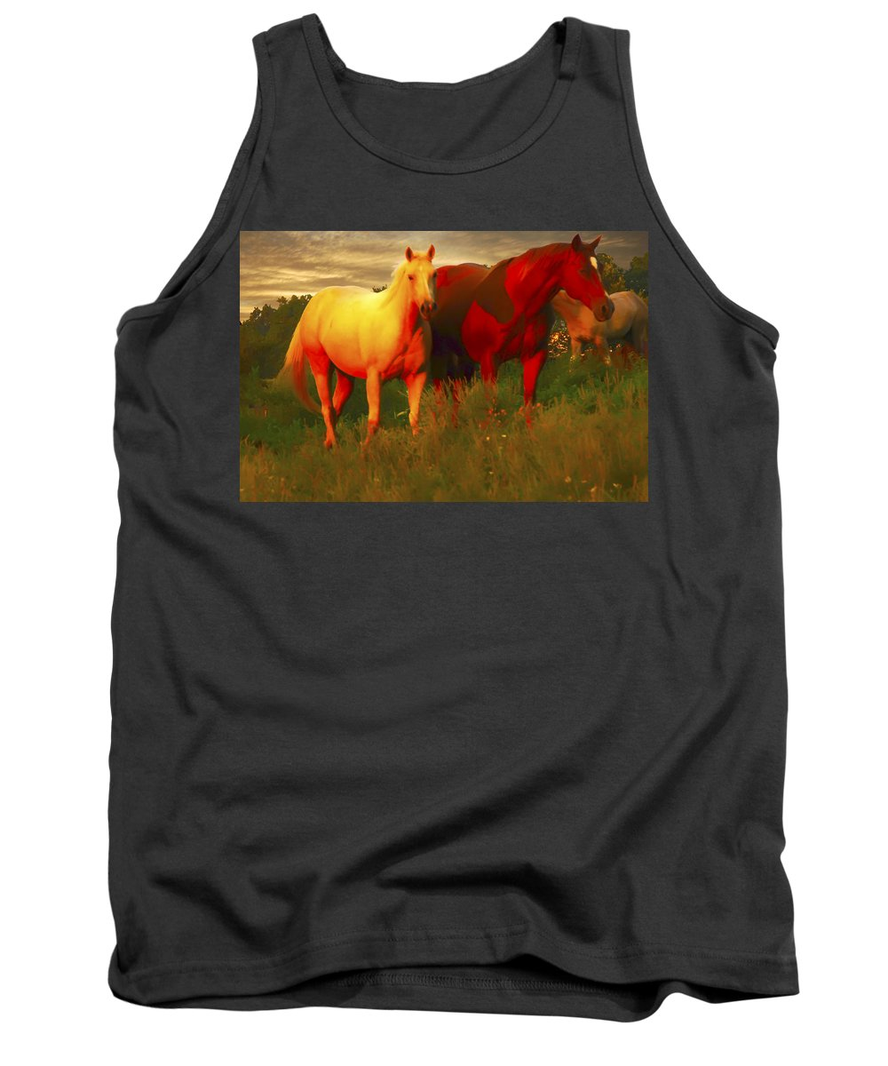 Horses Tank Top featuring the photograph Horses Soft And Sweet by Randall Branham