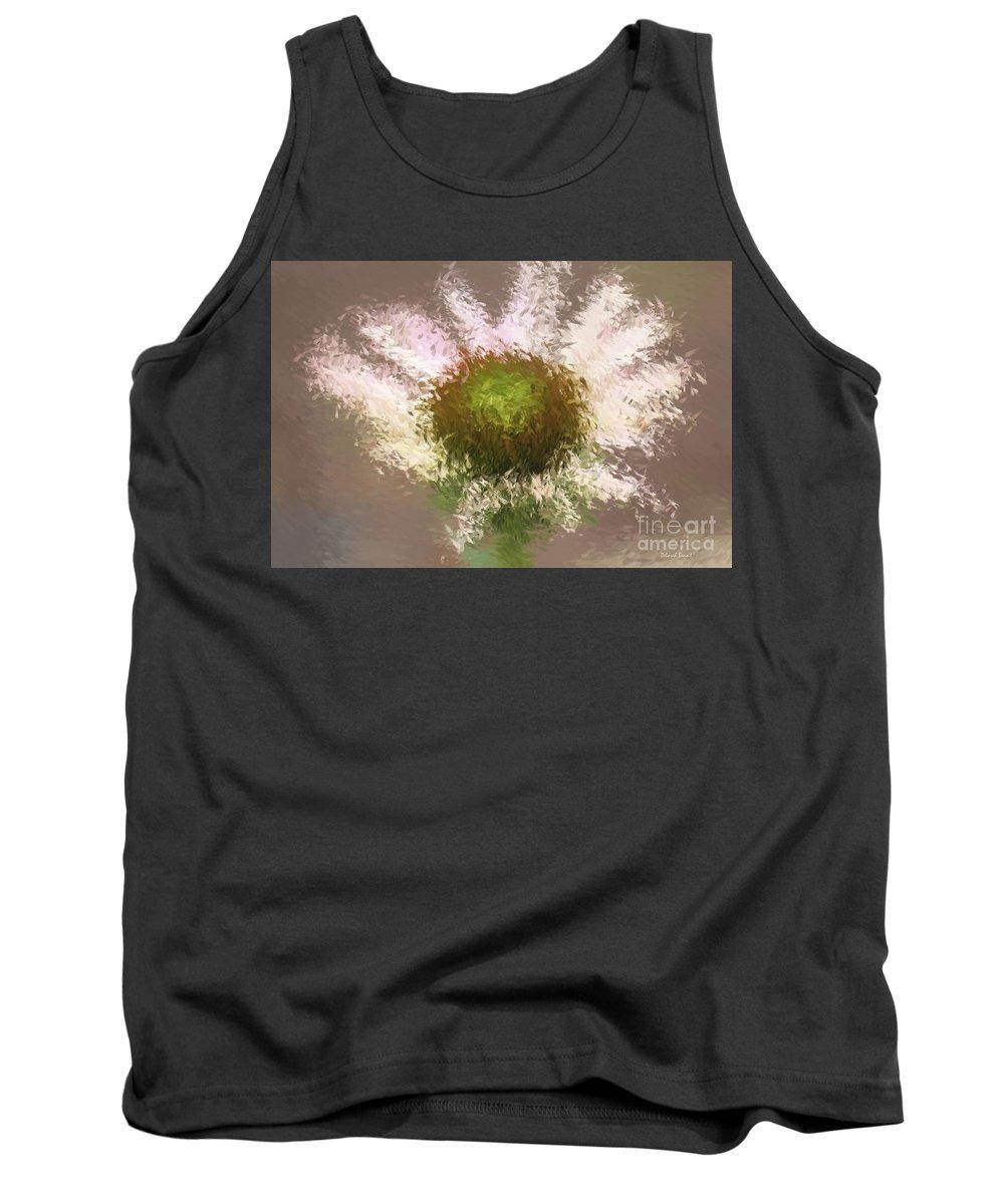 Flower Tank Top featuring the digital art Impressionistic Echinacea by Deborah Benoit
