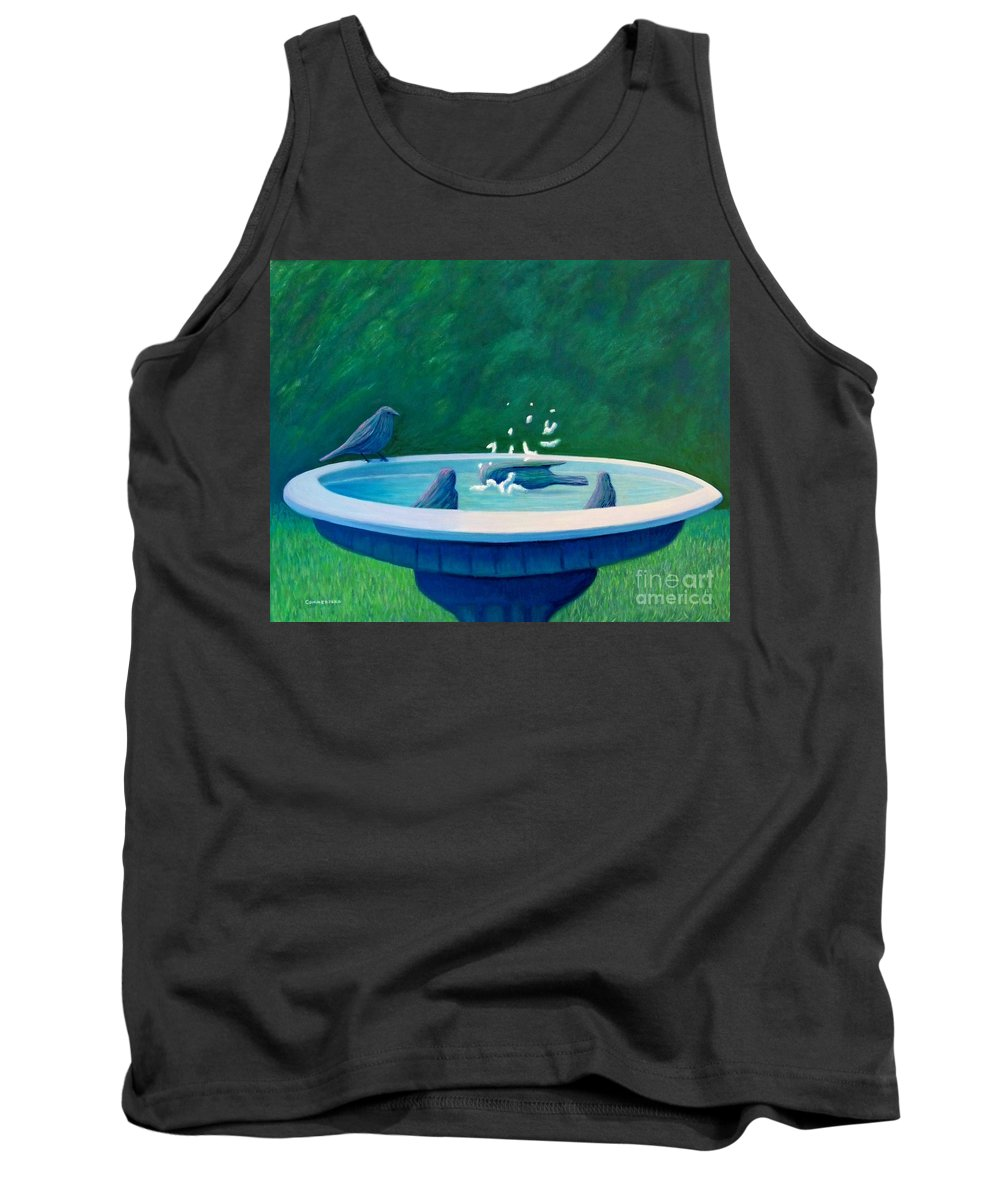 Birds Tank Top featuring the painting In The Garden by Brian Commerford