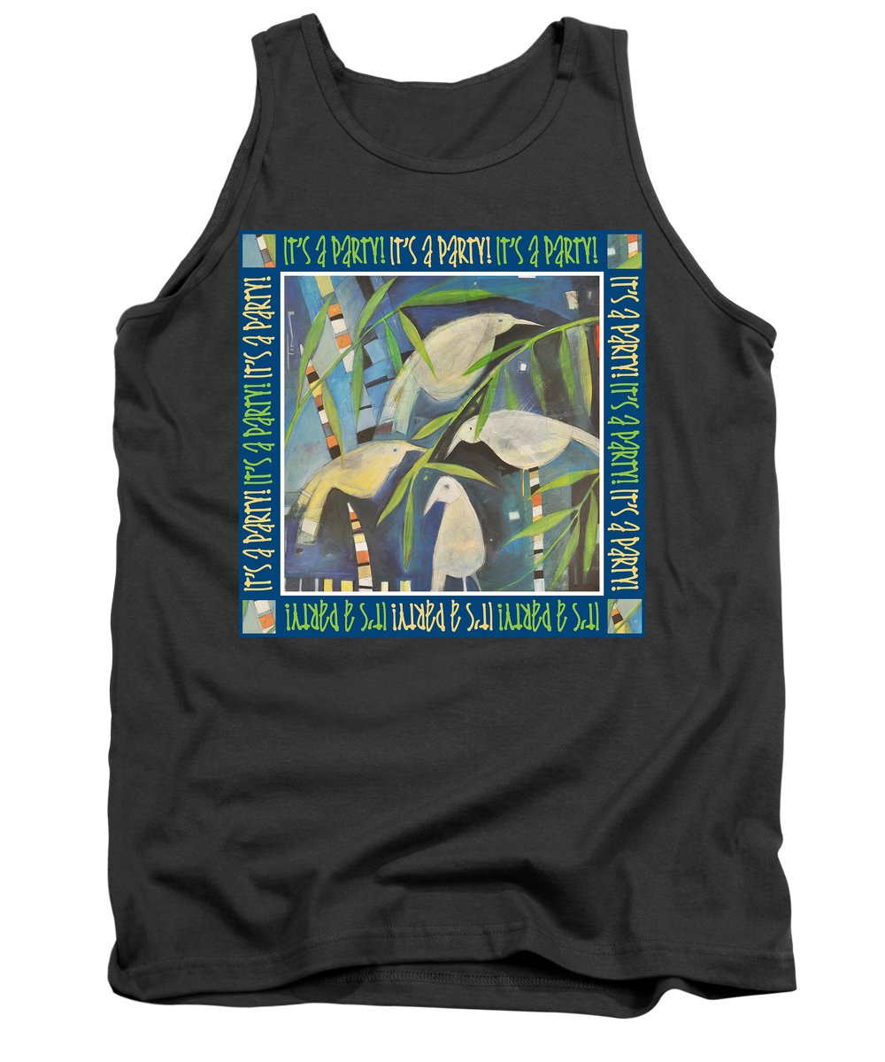 Birds Tank Top featuring the painting Its A Party Poster Image by Tim Nyberg