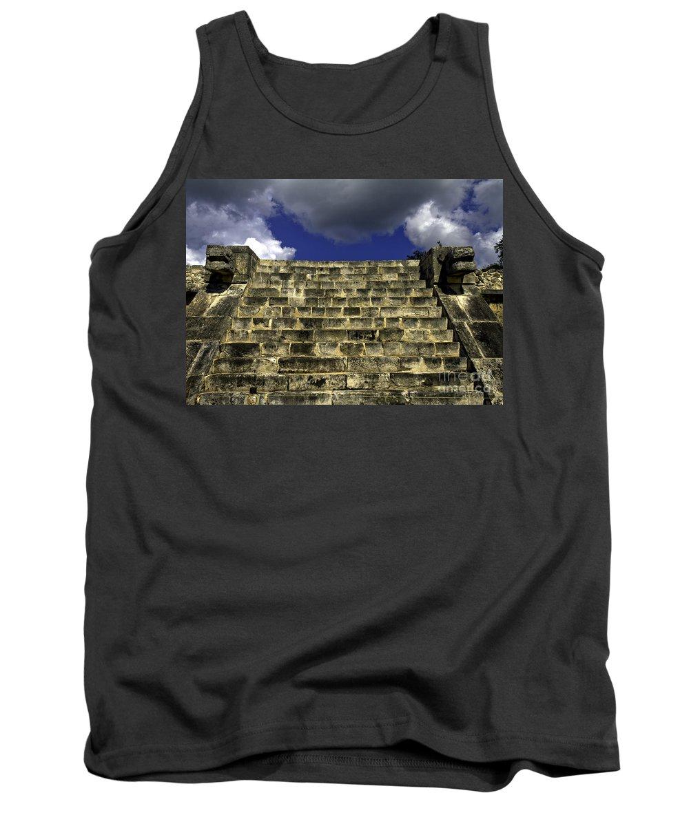 Chichen Itza Tank Top featuring the photograph Jaguar Stairway Two by Ken Frischkorn