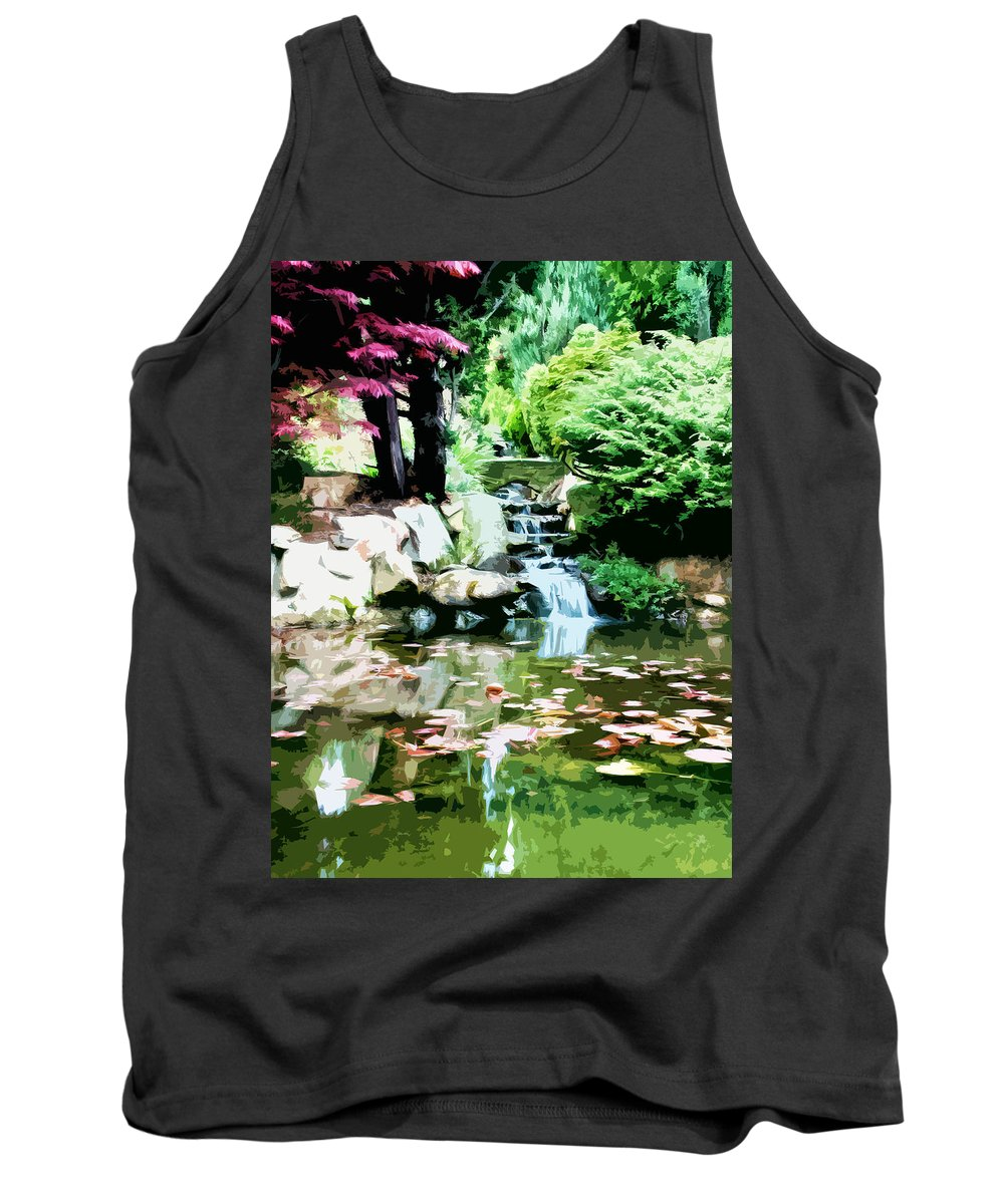 Landscapes Tank Top featuring the digital art Japanese Garden by Phill Petrovic