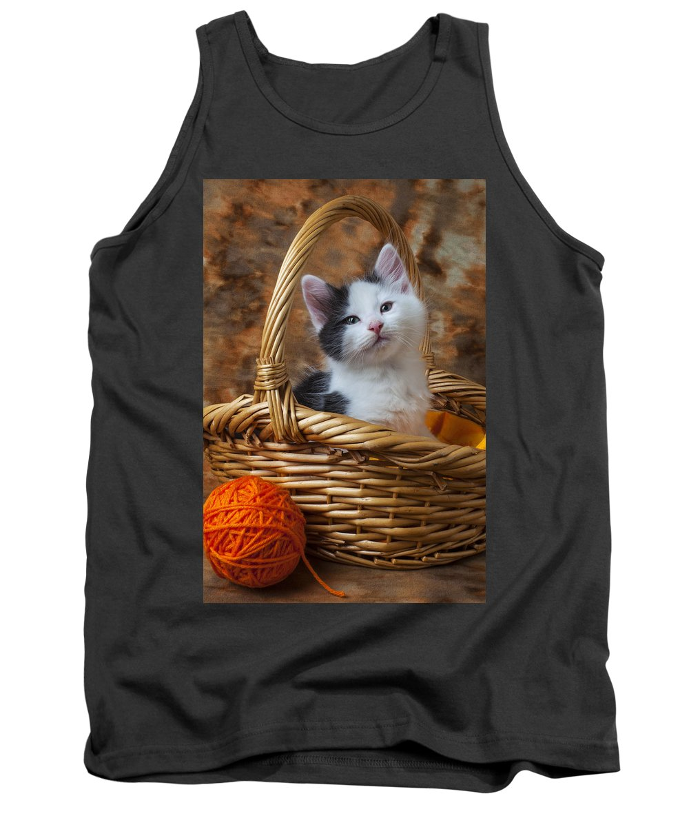 White Tank Top featuring the photograph Kitten In Basket With Orange Yarn by Garry Gay