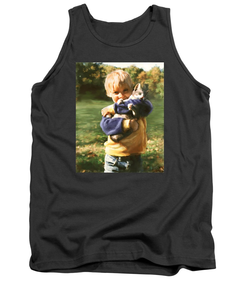 Kitten Tank Top featuring the digital art Kitty Love by Barbara Hymer