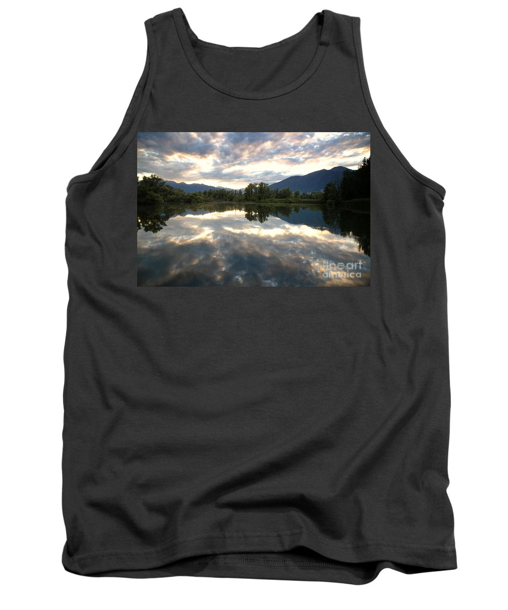 Lake Tank Top featuring the photograph Lake With Clouds by Mats Silvan
