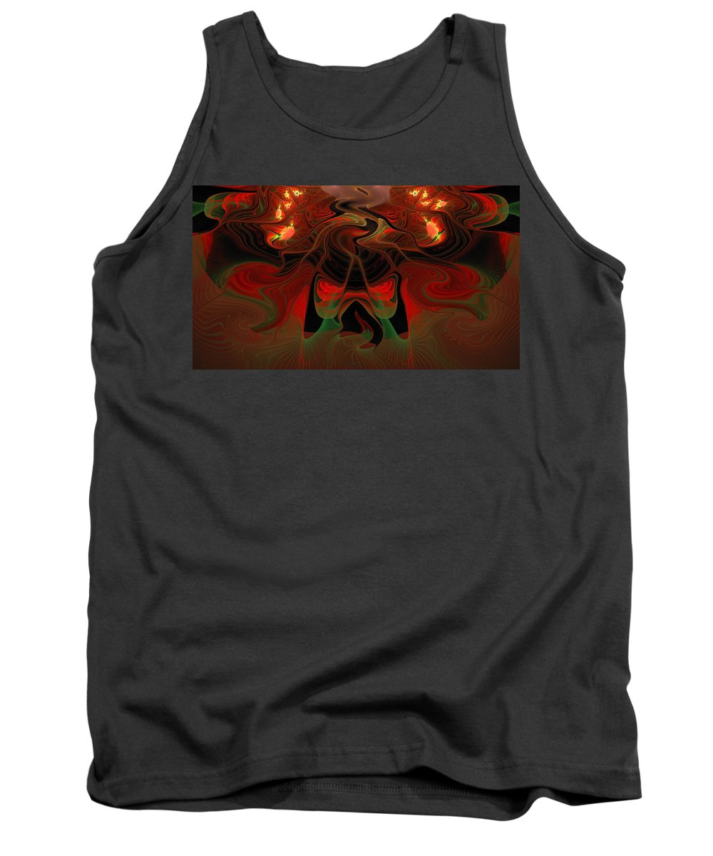 Lava Tank Top featuring the digital art Red Hot Lava by Georgiana Romanovna