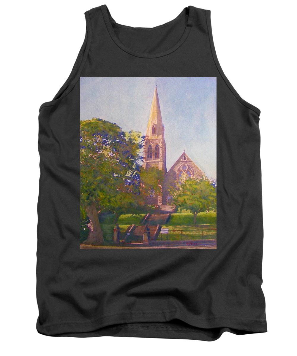 Peebles Tank Top featuring the painting Leckie Memorial Church Peebles Scotland by Richard James Digance