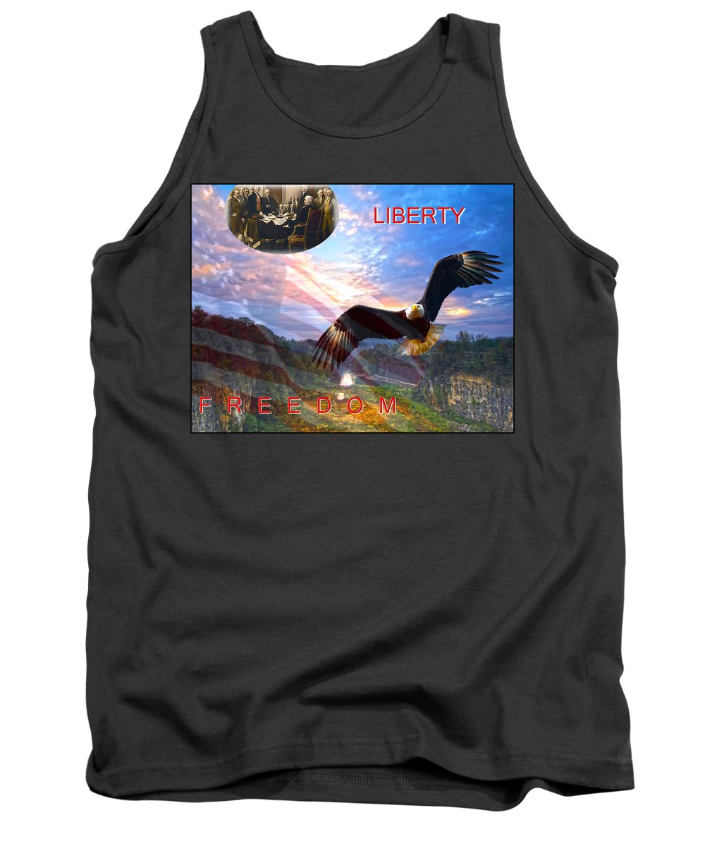 Liberty Tank Top featuring the photograph Liberty And Freedom by Randall Branham