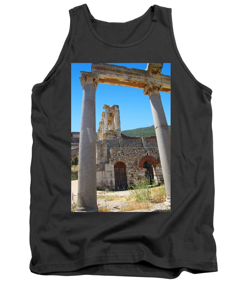 Turkey Tank Top featuring the photograph Library Of Celsus And Columns by Rich Walter