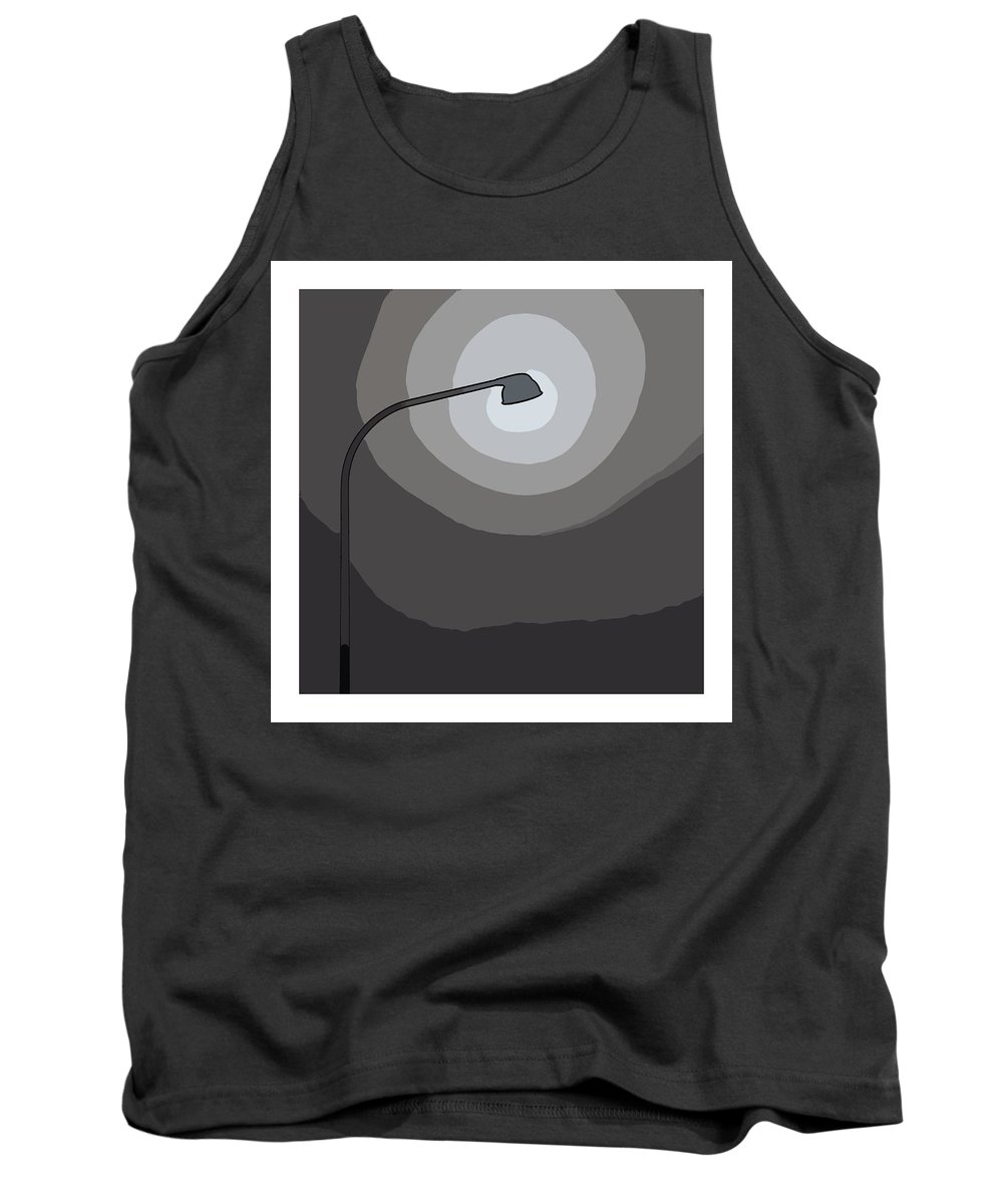 Laterne Lamp Lantern Lamp-post Light Shine Modern Comic Pop Art Cartoon Darkness Shadow Energy Abstract Beam Ray Halo Flash Reflactor Simply Simplicity Grey Black White Plain Tank Top featuring the painting Light On My Way by Steve K