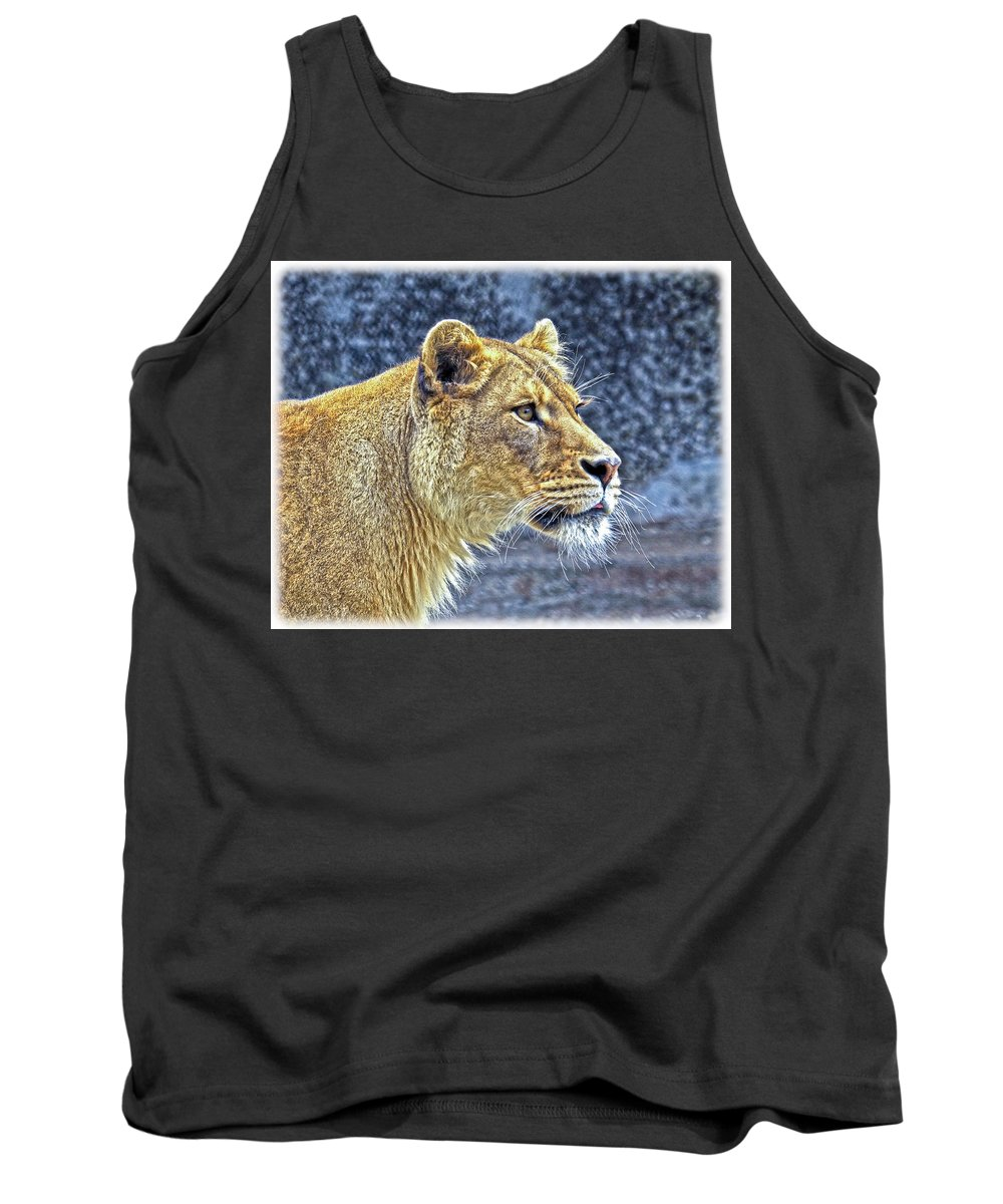Lion Tank Top featuring the photograph Lion Stare by Steve McKinzie