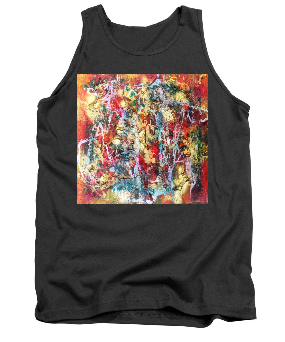 Abstract Tank Top featuring the painting Live To Give by Yael VanGruber