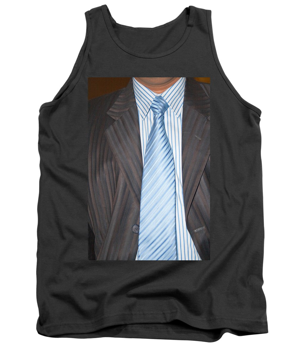 Man Tank Top featuring the photograph Man Wearing A Suit And Tie by Ashish Agarwal